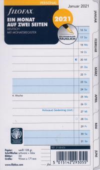 Filofax 2021 Kalender Personal A6 Einlage 1Monat 2Seiten Kalendarium 21-68456