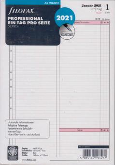 Filofax 2021 A5 Kalender Kalendarium Einlage 1Tag 1Seite Professional 21-68552