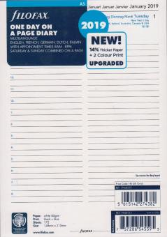 Filofax A5 2019 Kalender Einlage 1Tag/1Seite mehrsprachig Kalendarium 19-68515