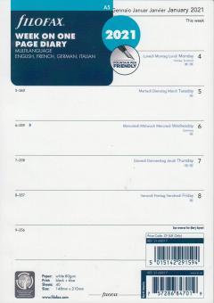 Filofax A5 2021 Kalender Einlage Wochenblätter 1Woche 1Seite Kalendarium 2168517