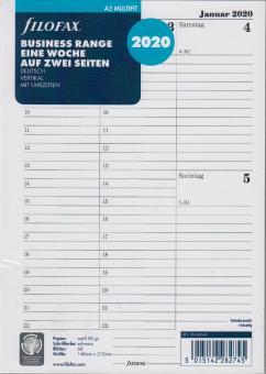 Filofax A5 Multifit 2020 Kalender Einlage 1Woche/2Seiten vertikal DEU 20-68540