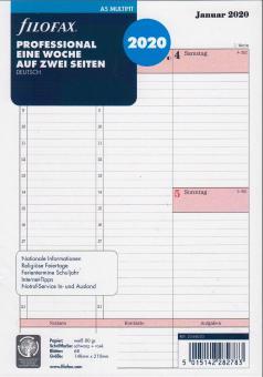 Filofax A5 Einlagen 2020 Kalendereinlage 1Woche 2Seiten Kalendarium Pro 20-68553