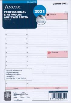 Filofax 2021 A5 Kalender Wochenplaner 1Woche 2Seiten Kalendarium Prof. 21-68553