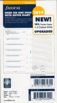 Filofax Personal 2019 Kalender Einlage 1Woche/1Seite + Notizen A6 Multi 19-68409