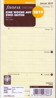 Filofax Personal 2019 Kalender Einlage Cotton Cream 1Woche/2Seiten DEU 19-68458