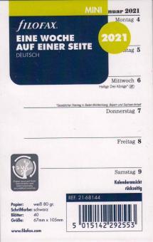 Filofax 2021 Kalender Mini A8 Kalendarium 1Woche 1Seite Wochenplaner DE 21-68144
