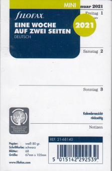 Filofax 2021 Kalender Mini A8 Kalendarium 1Woche 2Seiten Wochenblätter 21-68140