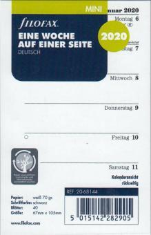 Filofax 2020 Mini A8 Kalendereinlage Kalender 1Woche 1Seite Kalendarium 20-68144