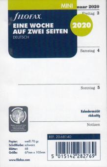 Filofax Mini A8 2020 Kalender Einlage 1Woche 2Seiten DEU Wochenblätter 20-68140