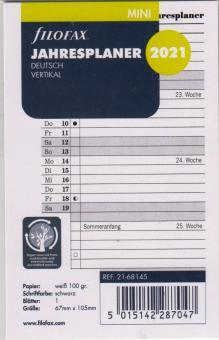 Filofax Mini 2021 Jahresplaner Leporello Kalender A8 Deutsch vertikal 21-68145