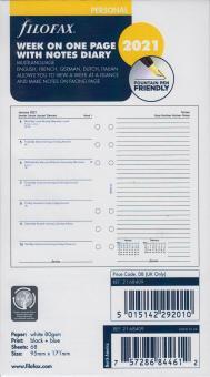 Filofax Personal 2021 A6 Kalender Wochenblätter 1Woche 1Seite + Notizen 21-68409