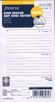 Filofax Personal 2020 A6 Kalender Einlage 1Woche 2Seiten Wochenblätter 20-68440