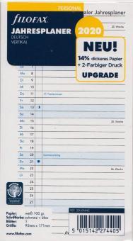 Filofax Personal 2020 Jahresplaner Leporello A6 Einlage DEU vertikal 20-68445