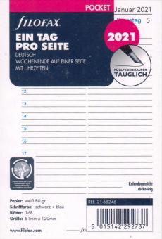 Filofax 2021 Pocket A7 Kalender Kalendarium 1Tag 1Seite Tagesplaner Deu 21-68246