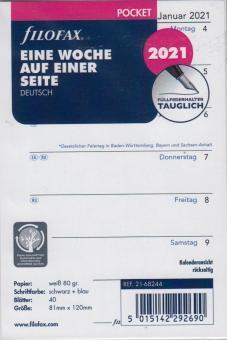 Filofax A7 Pocket 2021 Kalender Wochenblätter 1Woche 1Seite Kalendarium 21-68244