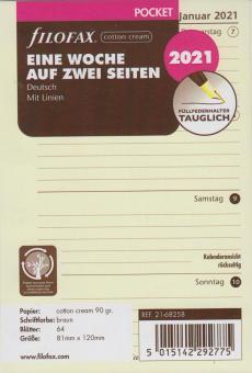 Filofax 2021 Kalender Pocket A7 Kalendarium 1Woche 2Seiten Cotton Cream 21-68258