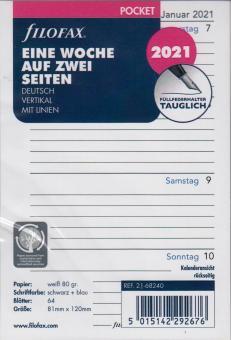Filofax 2021 Kalender Pocket A7 Einlage 1Woche 2Seiten Wochenblätter DE 21-68240