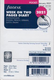 Filofax Pocket 2021 A7 Kalender Wochenblätter 1Woche 2Seiten 5-sprachig 21-68227