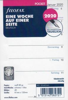 Filofax Pocket 2020 A7 Kalender Einlage 1Woche 1Seite Kalendarium Deu 20-68244