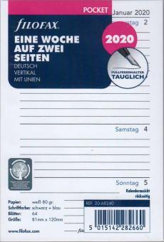 Filofax Pocket 2020 A7 Kalender Einlage 1Woche 2Seiten Wochenblätter DE 20-68240