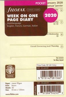Filofax Pocket 2020 A7 Kalender Einlage 1Woche 1Seite Kalendarium Cream 20-68239