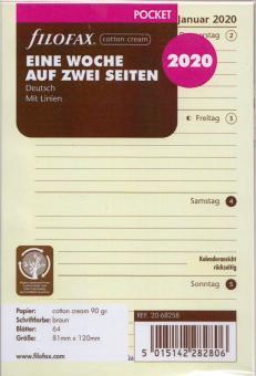 Filofax Pocket 2020 Kalendereinlage A7 Kalendarium 1Woche 2Seiten Cream 20-68258