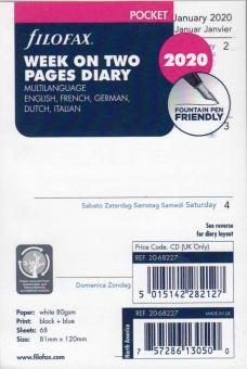 Filofax Pocket 2020 A7 Kalender Einlage 1Woche 2Seiten Wochenblätter 20-68227