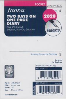 Filofax Pocket 2020 A7 Kalendereinlage 2Tage 1Seite Tagesblätter Refill 20-68223
