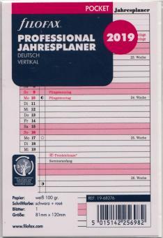 Filofax Pocket 2019 Jahresplaner professional Leporello A7 DEU vertikal 19-68276
