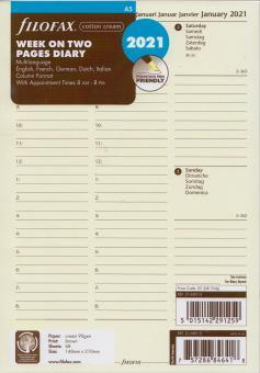 Filofax A5 2021 Kalender Einlage Wochenblätter 1Woche 2Seiten Cream 21-68513