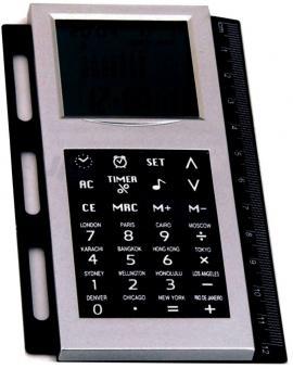 Bind System Digital-Rechner mit Weltzeituhr zum Einheften Silber Kunststoff 1030