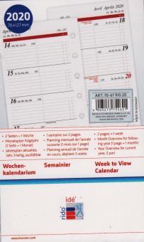 Rido-Idé 2020 A7 Kalender Einlage Timing3 1Woche 2Seiten Kalendarium 70-6791020