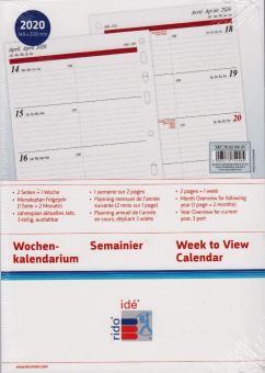 Rido-Idé 2020 A5 Kalender Einlage Timing1 1Woche 2Seiten Kalendarium 70-6591020