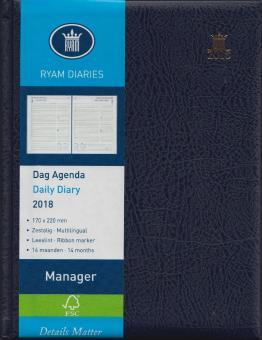 RYAM A5 Manager Mundior Blau 2018 Terminkalender 1Tag/1Seite 6-sprachig 81778033