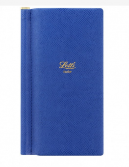 Letts Note Legacy Slim Pocket Blau Notizbuch mit Stift Liniert Lederlook 90006P
