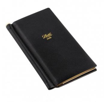 Letts Note Legacy Slim Pocket Schwarz Notizbuch + Stift Liniert Lederlook 90009P