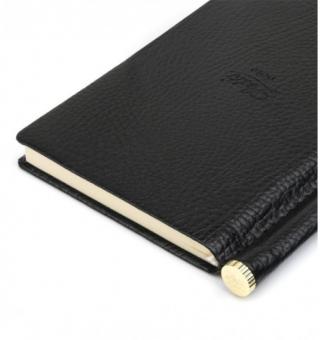 Letts Note Origins Slim Pocket Schwarz Notizbuch + Stift Liniert Lederlook 90010
