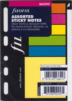 Filofax Haftnotizen & Highlight Strips Multifit für A7 A6 A5 A4 Organiser 210136