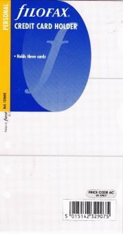 Filofax Personal Kreditkarten Hülle A6 Einlage Organiser Terminplaner 133603