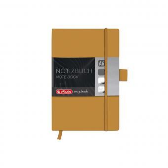 Herlitz 11366879 GOLD Notizbuch my.book Classic A6, 96 Blatt, liniert Gummiband