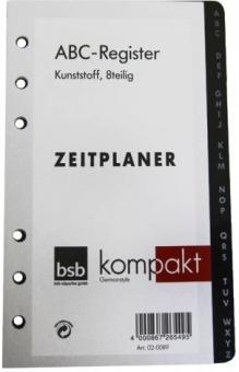 bsb kompakt A6 Kunststoff Register 8-teilig Ringuch Organiser Einlage 02-0089