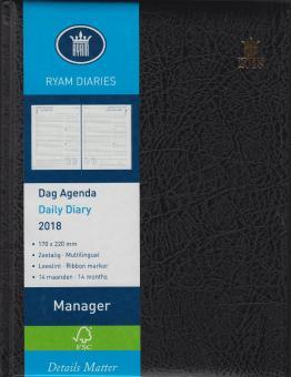 RYAM A5 Manager Schwarz 2018 Terminkalender 8-21 1Tag/1Seite 6-sprachig 81776033