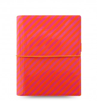 Filofax Domino Patent A5 Orange/Pink Stripes  30mm Terminplaner Organiser 022574