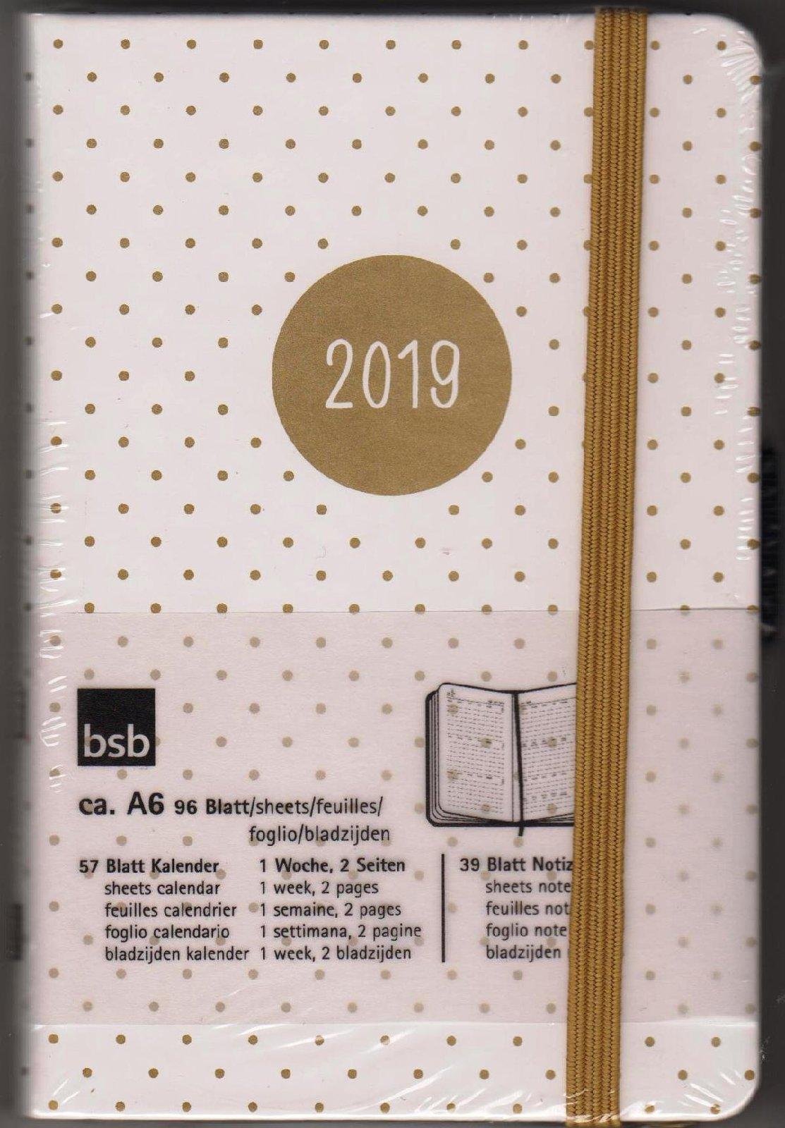 Organiser De Bsb V Book A6 Weiß Gold Punkte 2019