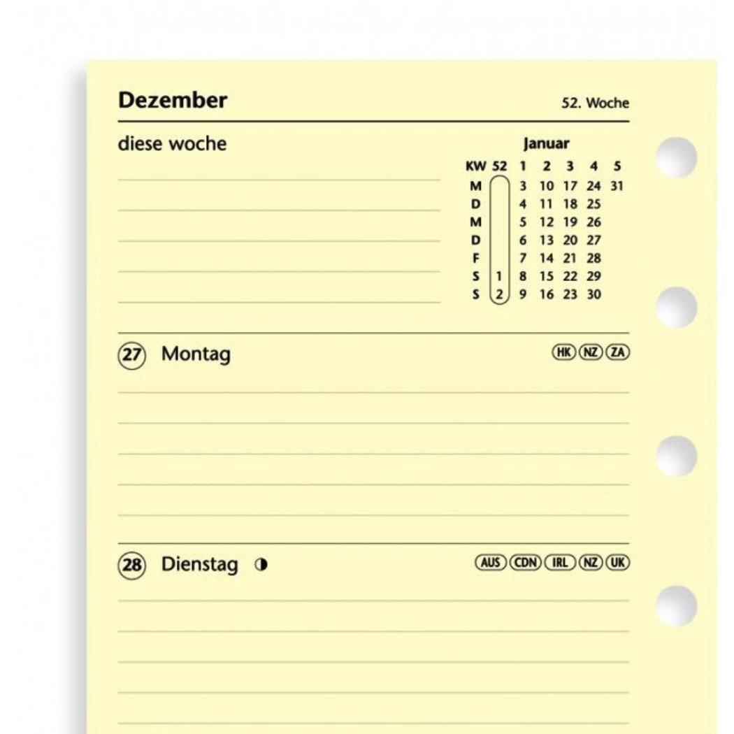 filofax Kalender Einlage 2020 Pocket eine Woche auf zwei Seiten 68258 cotton