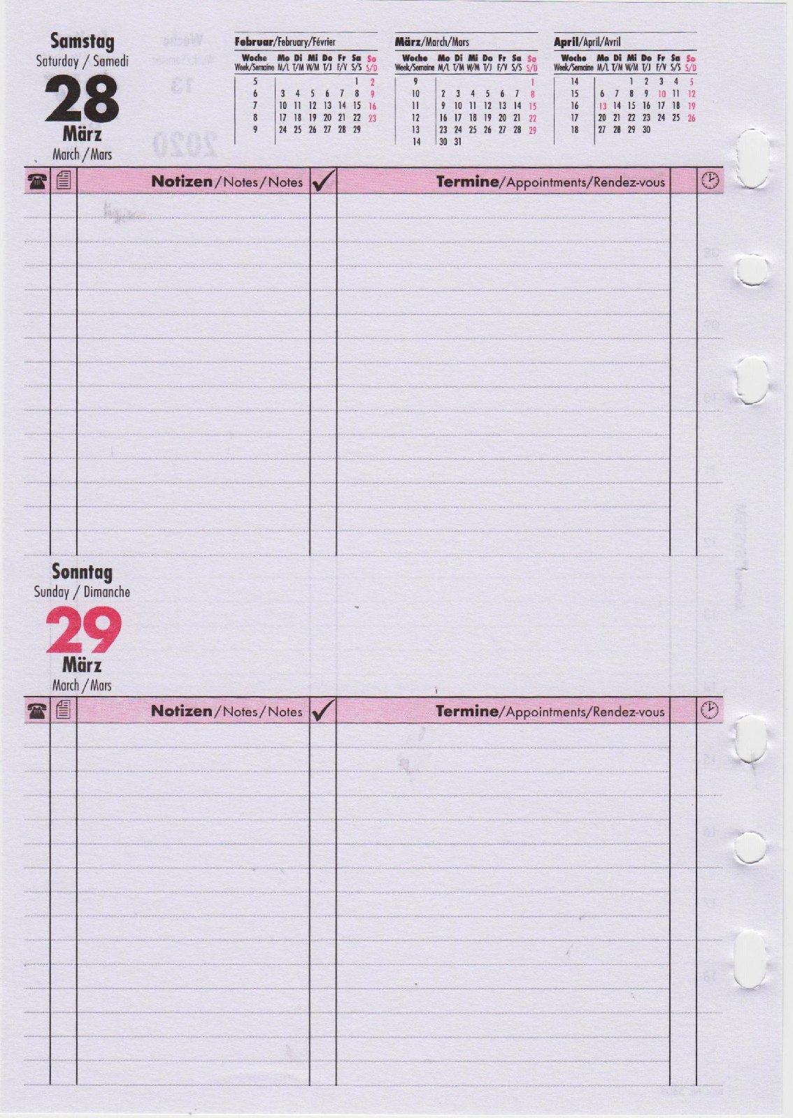 bind Einlage DIN A5 Kalender 2020 1 Tag 1 Seite Planer Timer Organizer B550320