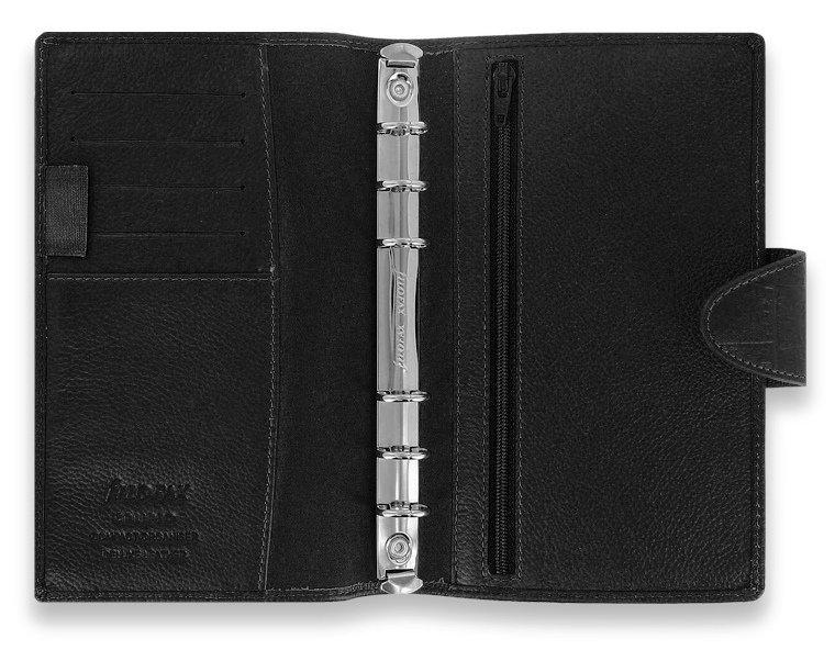 Filofax Calipso Compact Schwarz Organiser Leder 15mm Planer A6 Kalender 022462