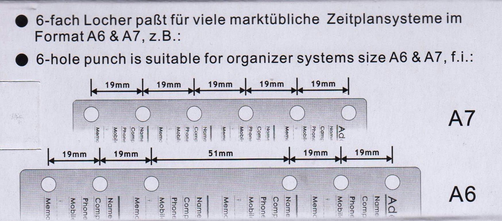 LOCHER 6 FACH für DIN  A7 A6 A5 A4 UNIVERSAL LOCHER TERMINPLANER-EINLAGEN